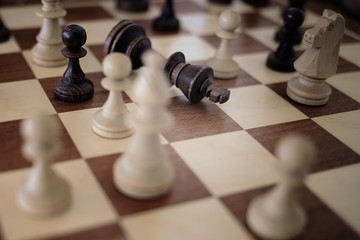 Chess on the chessboard. Сheckmate a king