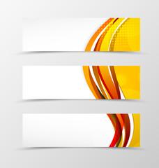 Set of header banner wavy design
