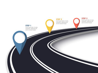 Winding Road on a White Isolated Background. Road way location infographic template with pin pointer. Vector EPS 10