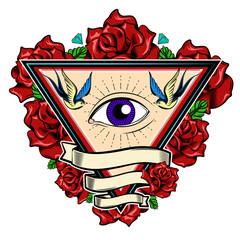 Eye In Triangle Tattoo Design