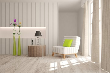White modern room. Scandinavian interior design. 3D illustration