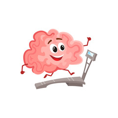 Funny smiling brain running on a treadmill, cartoon vector illustration on white background. Cute working out brain character as a symbol of education, training and development