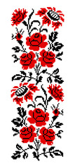 Bouquet of flowers (roses, cloves and sunflowers) using traditional Ukrainian embroidery elements. Black and red tones. Border pattern. Can be used as pixel-art.