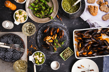 Dinner Table With Seafood And Grilled Vegetable.