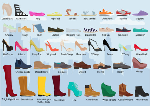 Set with different types of women's shoes / woman's shoes. Ballets, sneakers, boots, flats. Collection of autumn, winter and spring shoes for women / woman set