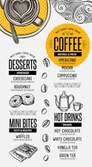 Menu coffee restaurant, beverage template placemat.