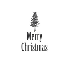 Simple Marry Christmas greeting card illustration with pine tree