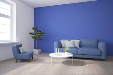 Blue modern room. Scandinavian interior design. 3D illustration