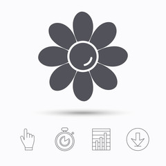 Flower icon. Florist plant with petals symbol. Stopwatch timer. Hand click, report chart and download arrow. Linear icons. Vector