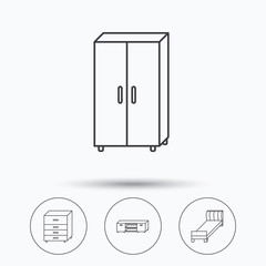 Single bed, TV table and cupboard icons. Chest of drawers linear sign. Linear icons in circle buttons. Flat web symbols. Vector