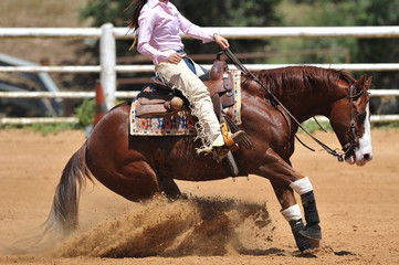 The side view of a rider in cowboy chaps and boots on a horseback running ahead and stopping the horse in the dust.