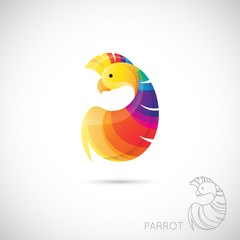 Abstract icon parrot. Vector illustration.