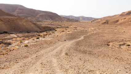 Desert mountains trail valley landscape view, Israel nature.