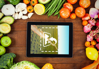 Tablet Surrounded by Produce Mockup