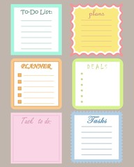 "Set of six planners ""To-Do List"" for organizing a day. Vector illustration"