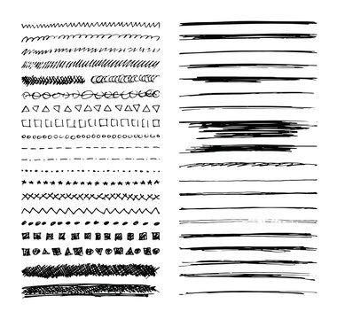 Set of hand drawn line borders, scribble strokes and design elements isolated on white. Doodle style brushes. Monochrome vector eps8 illustration.