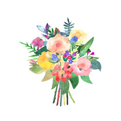 Hand drawn watercolor bouquet. Isolated elements. Design for car