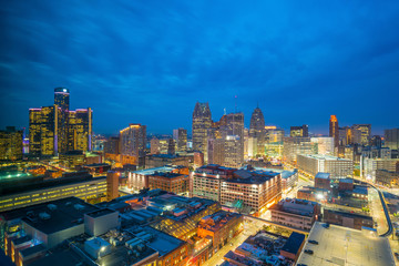 Wall Mural - Aerial view of downtown Detroit at twilight
