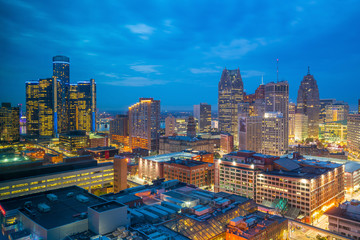 Aerial view of downtown Detroit at twilight