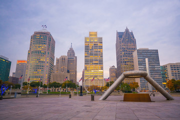 View of downtown Detroit riverfront