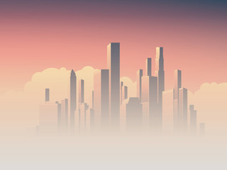 Corporate skyline with high rise skyscrapers in morning sunrise haze, pink and purple sky background. Business cityscape vector symbol of success.