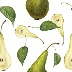 Watercolor seamless pattern with pears Conference and leaves. Botanical isolated illustration.