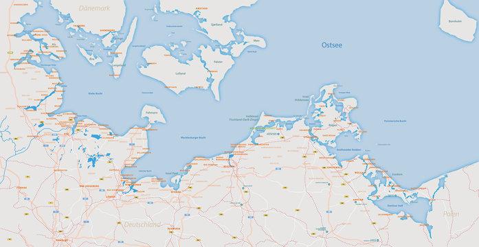 Karte Ostseeküste mit Städten, Inseln und Infrastruktur