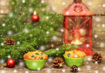 Christmas Homemade Muffins with candied . Toned.