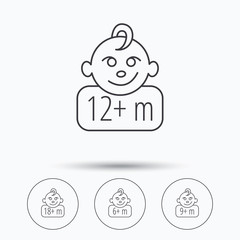 Infant child and toddler baby icons. 6-18 months child linear sign. Linear icons in circle buttons. Flat web symbols. Vector