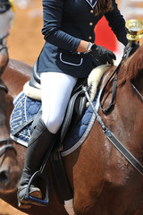 A close up view of the professional female jockey rides on horseback.