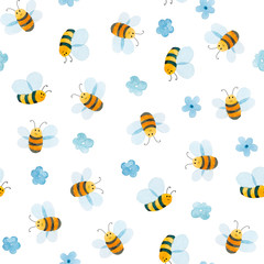 watercolor pattern of smiling bee