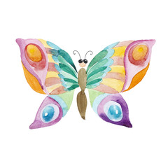 Watercolor cartoon butterfly isolated on white background.