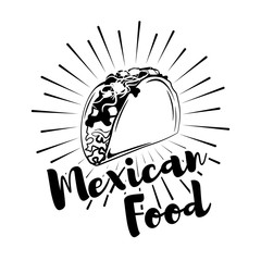 Taco Mexico Food. Traditional Mexican Cuisine. An Isolated Object.