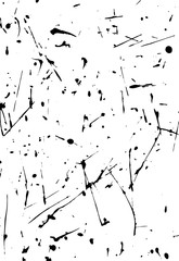Vector dynamic lines of black ink. Thin chaotic vertical and horizontal lines. Drops and drips. Grunge texture.
