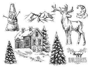 illustration christmas landscape