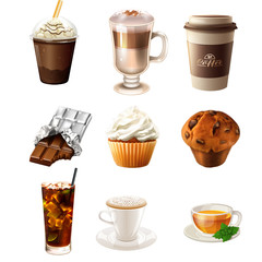 Collection of different drink and sweet foods - Raster clip art illustration