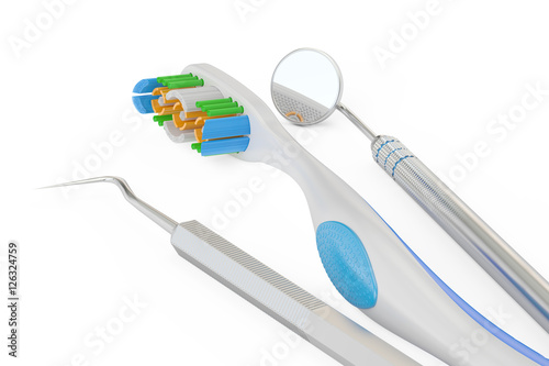 Toothbrush and dental tools 3d rendering stock photo for Online rendering tool