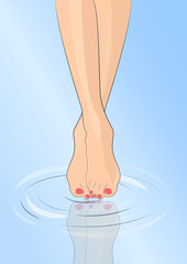 Pedicure Vector illustration Slender female legs with pink nail polish touching the water and making ripples