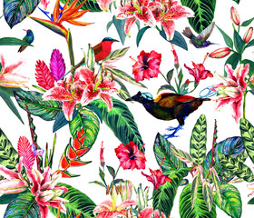 Seamless tropical pattern. Hand painted watercolor exotic plants and birds, on white background. Textile design.