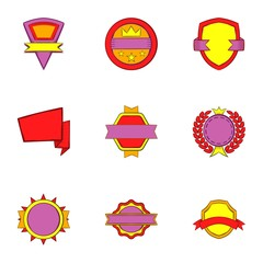 Types tag icons set. Cartoon illustration of 9 types tag vector icons for web