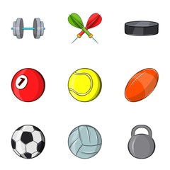 Sports equipment icons set. Cartoon illustration of 9 sports equipment vector icons for web