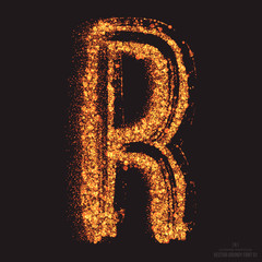 Vector grungy font 001. Letter R. Abstract bright golden shimmer glowing round particles vector background. Scatter shine tinsel light effect. Hand made grunge shape design element