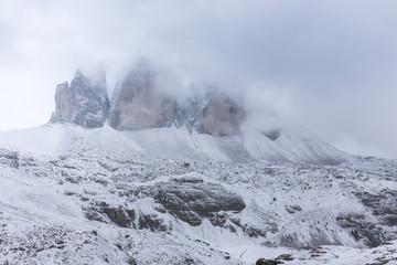 Snowy day, overcast skies on the Drei Zinnen Lavaredo