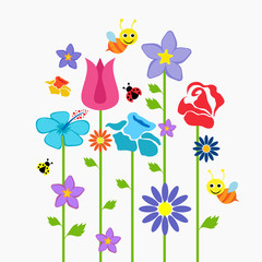 set of flowers, nature paper, vector picture