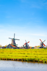 Traditional dutch landscape in Zaanse Schans, Netherlands, Europe