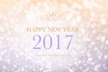 Happy New Year 2017 words on bokeh background