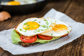 Fried Eggs on a Sandwich
