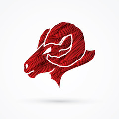 Sheep head with big horns designed using red grunge brush graphic vector.
