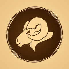 Sheep head with big horns designed on grunge circle background graphic vector.