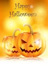 Halloween Background with evil pumpkin